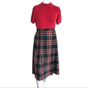 St Michael Vtg Red Plaid Pleated Kilt Preppy Skirt